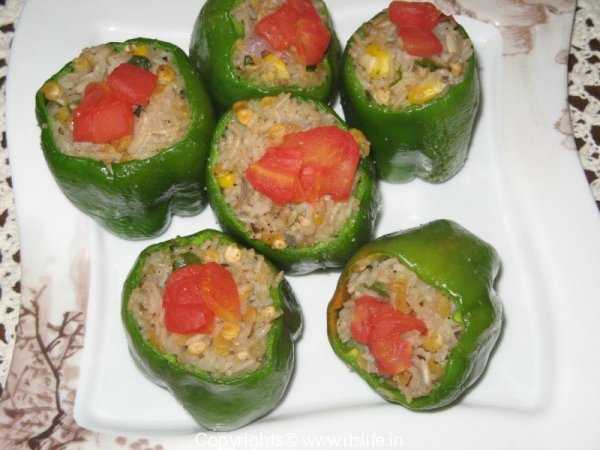 Rice and Lentils stuffed Capsicum