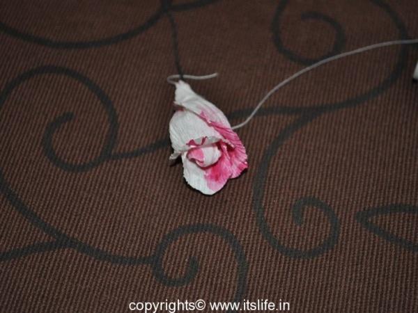 Roses made using Crepe paper