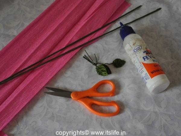 Paneer Gulabi using Crepe Paper