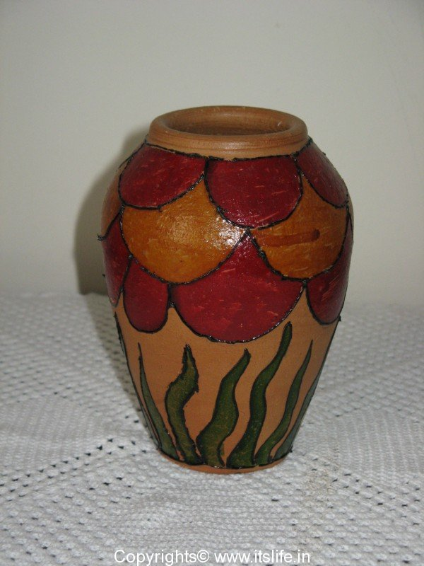 Pot painting using glass paint for Diy ceramic painting