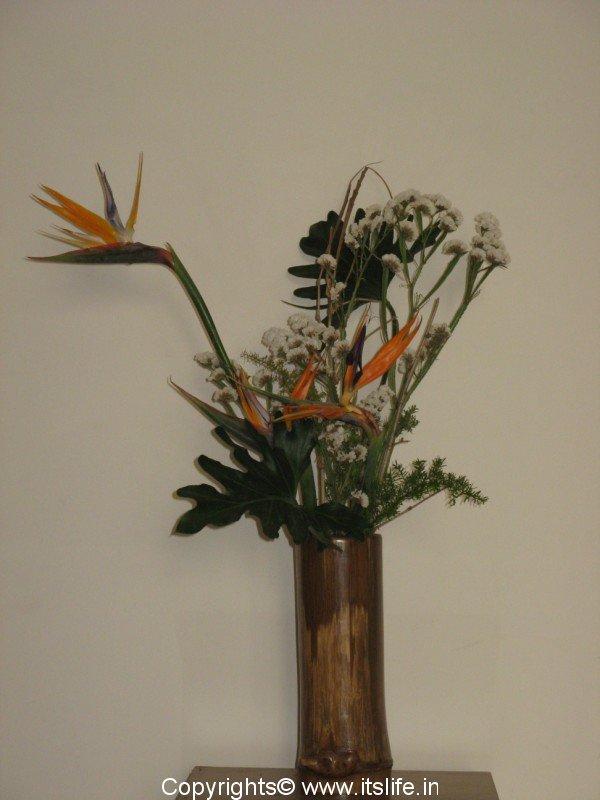 japanese art flowers. Ikebana in Japanese literally