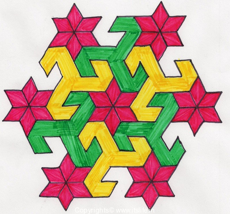 Parrot faced Star Rangoli in Kannada. Method: Dots 13 to 7 – Middle