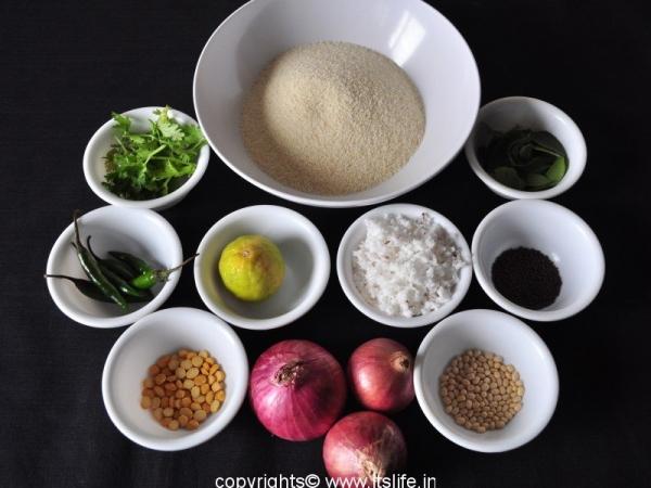 Rawa Upma ingredients