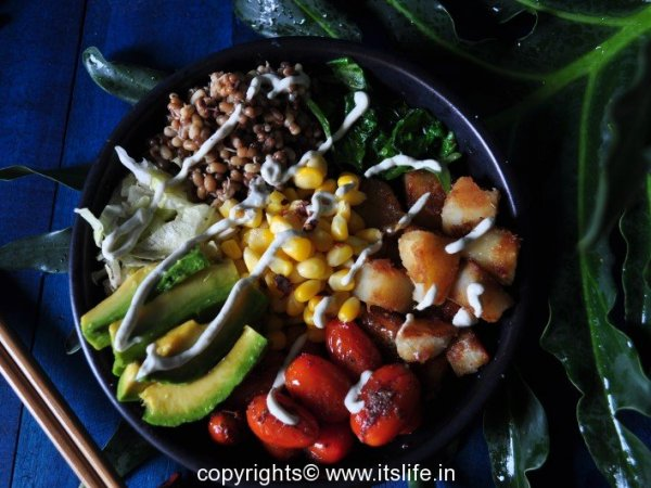 Avocado Moth Bean Sweet Potato Buddha Bowl,
