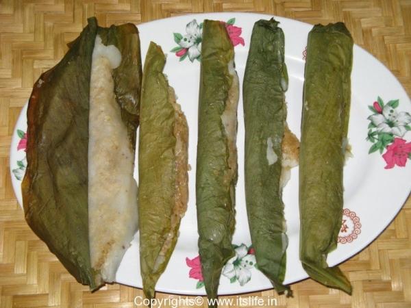 Steamed Kadabu in Turmeric Leaf