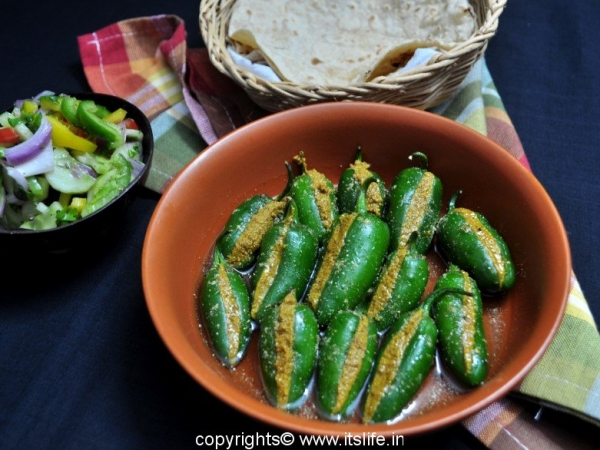 Stuffed Green Chili Pickle