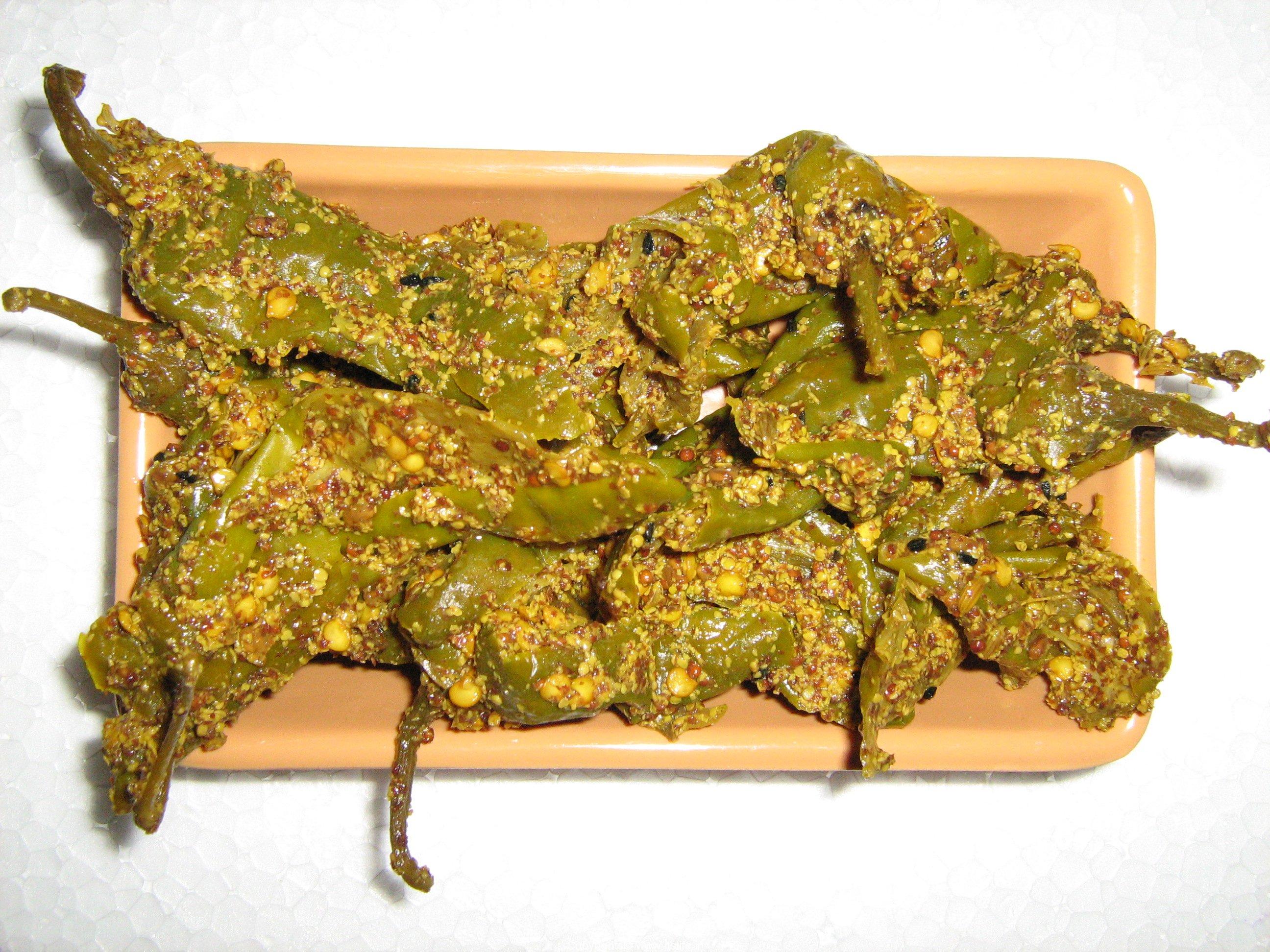 Green Chili Pickle Recipe | Stuffed Green Chili Pickle | Pickles ...