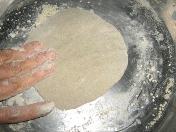 Sajji/Bhajra Roti in the making