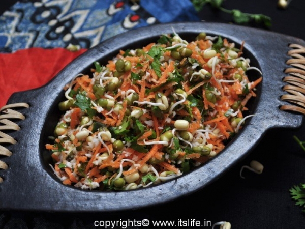 Sprouted Whole Green Gram Salad