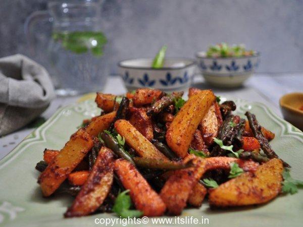 Alu Beans Carrot Stir Fry