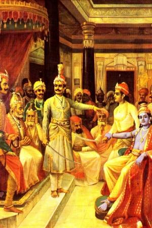 Krishna Sandhana Painting by Raja Ravi Varma