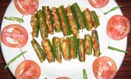 Paneer stuffed bhindi