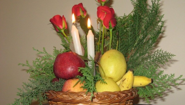 Dutch Style Fruit Flowers and Light Arrangement