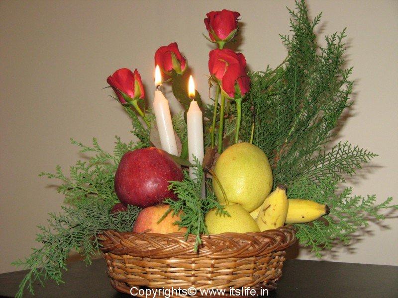 Dutch Style Fruit Flowers And Light Arrangement