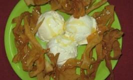 Fried Wonton with Ice Cream and Honey